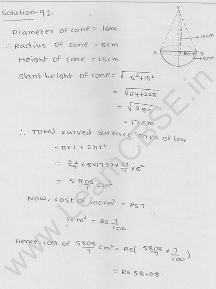 RD Sharma Class 9 solutions Chapter 21 Surface Area and volume of A Sphere Ex 21.1 5