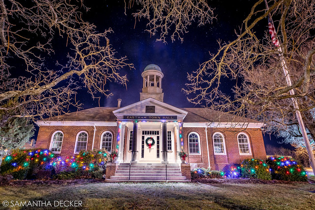 Eastham Town Hall with Holiday Lights
