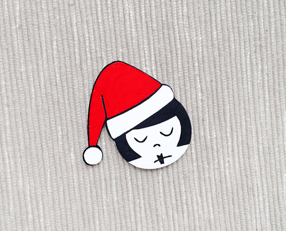 flapper doodle christmas brooch
