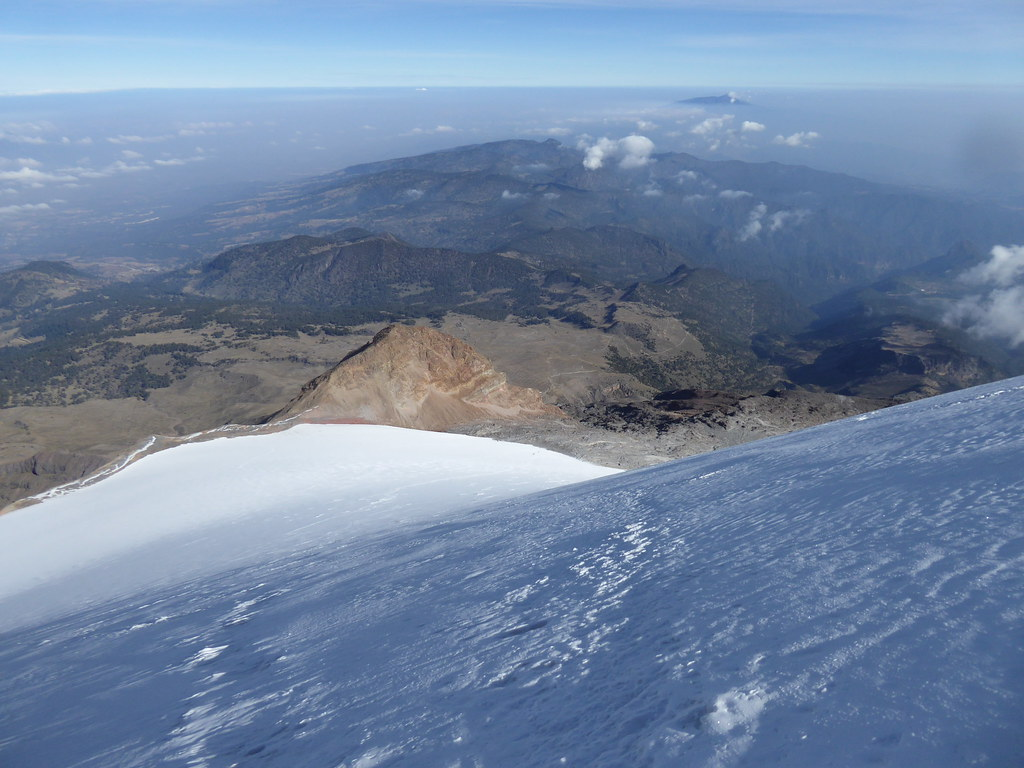 Looking down the Jamapa Glacier on the descent of Pico de Orizaba