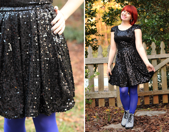 Black Sparkly Dress with Blue Tights and Polka Dot Boots