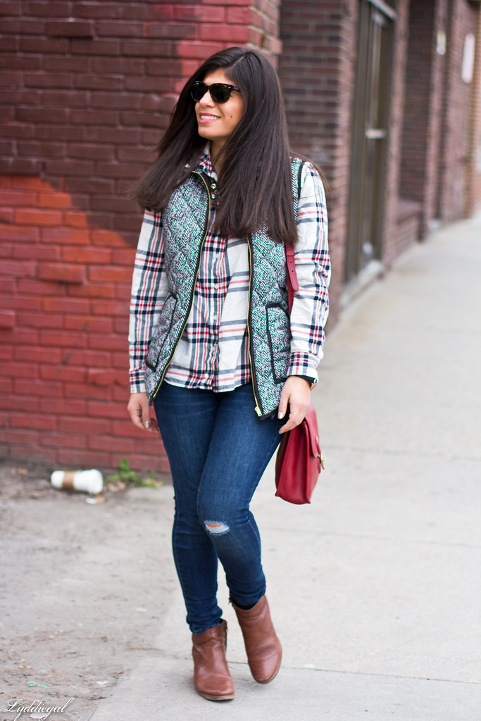 plaid shirt, herringbone vest, red coach bag-3.jpg