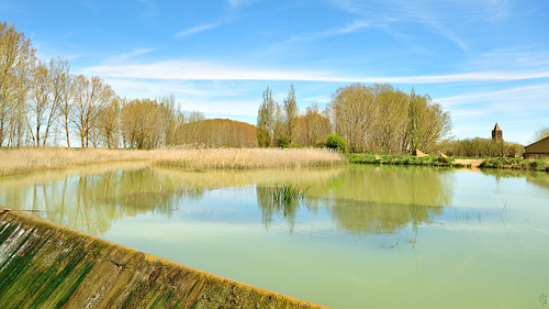 Spillway, Curve, Reflections, Chuch tower, Frist sluice, Campos branch, The Canal of Castile, Abarca de Campos, Palencia, Spain