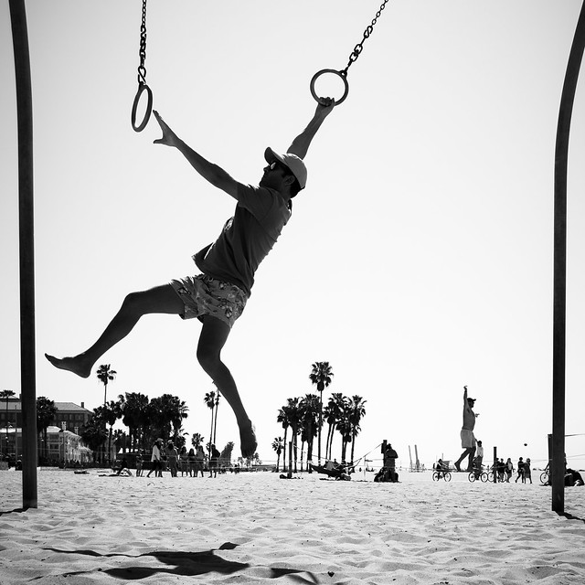 Venice beach fitness - Los Angeles, United States - Black and white street photography