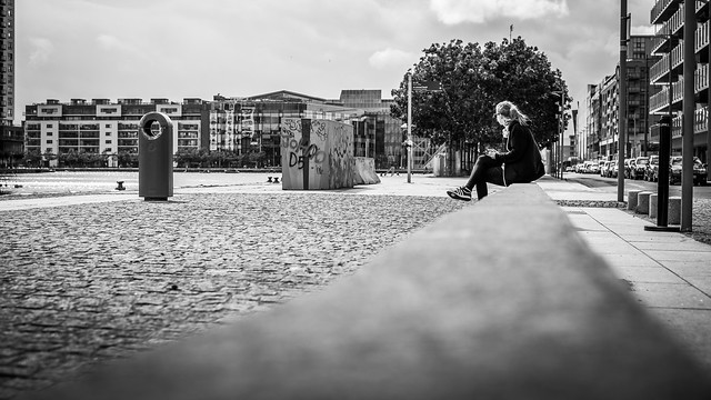 Relax in the city dublin ireland black and white street photography
