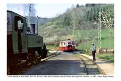 Boicieu Le Roi. Vivarais line. Trains passing. 18.4.82