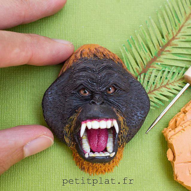 Orangutan head sculpture from polymer clay, see it happen here : https://youtu.be/c2OPW1e2VGo 😊
