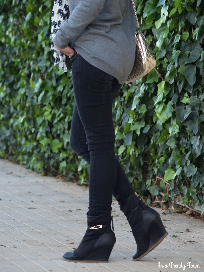 outfit grey skinny jeans