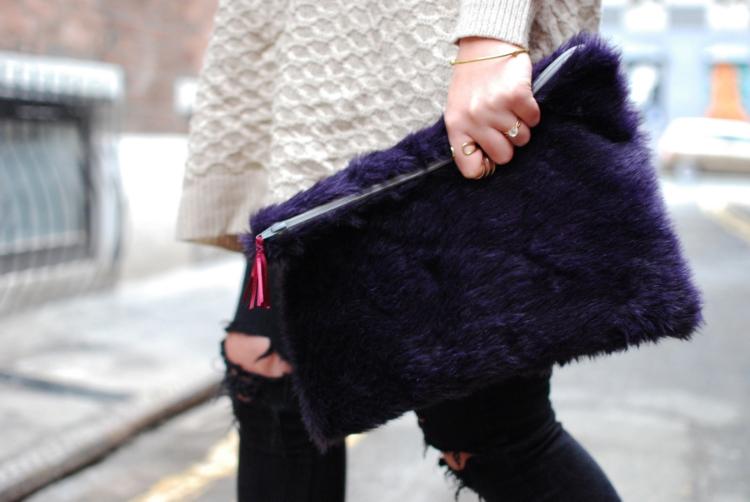 Oversize faux fur clutch style