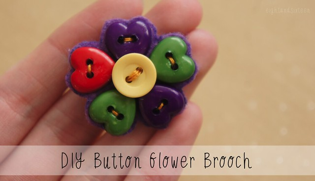 DIY Button Flower Brooch by Eight and Sixteen