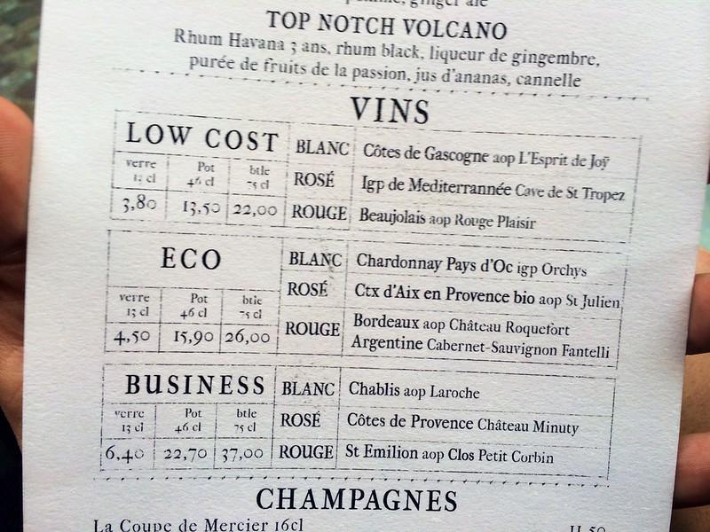 Helpful wine list