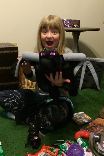 Catie was super excited about her Minecraft ender dragon