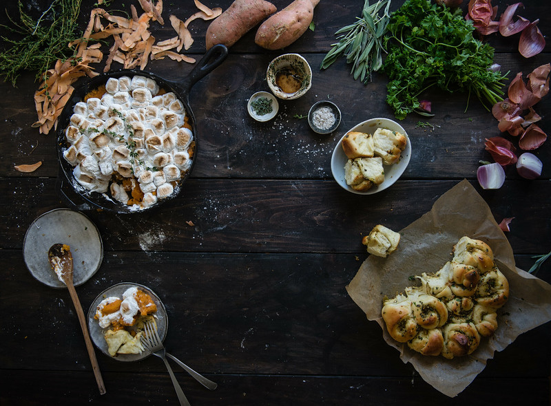 maple-brown butter sweet potato casserole + thyme marshmallows // stuffing-flavored dinner rolls