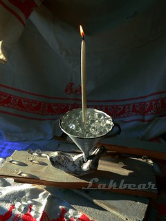 Diy candlestick made from enamel funnel
