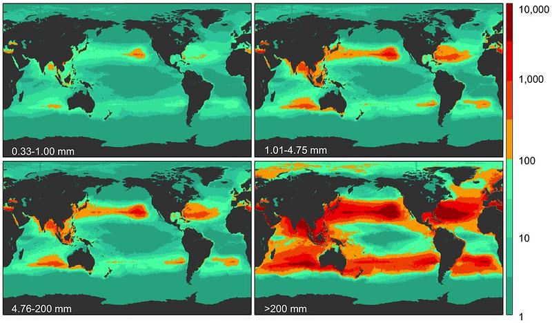 全球海洋塑膠垃圾的重量分布圖。