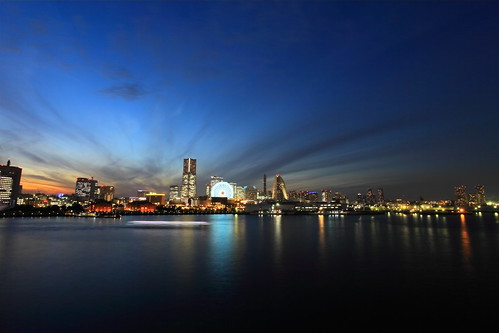 city light sea sky cloud japan night twilight yokohama kanagawa minatomirai