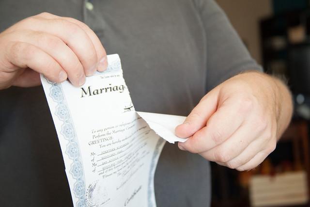 Divorce - torn marriage license