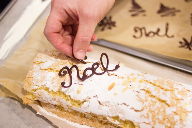 Yule Log with whipped cream