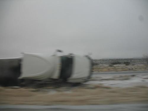 One of around 10 crashed semi's along I-10