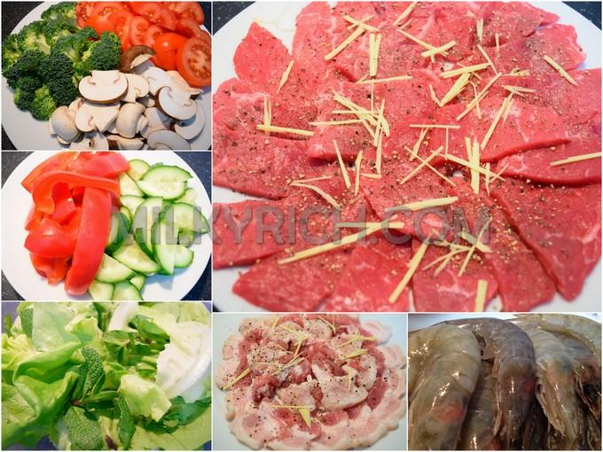 thịt bò - tôm - rau củ