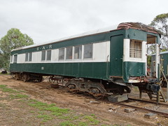 Karoonda. Pioneer Park with railway and Mallee farming structures and items. Old Brill railcar or also known as Barwell Bulls.