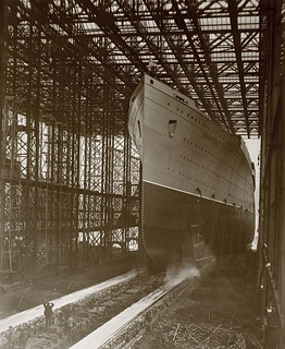 Mauretania sliding down the slipway
