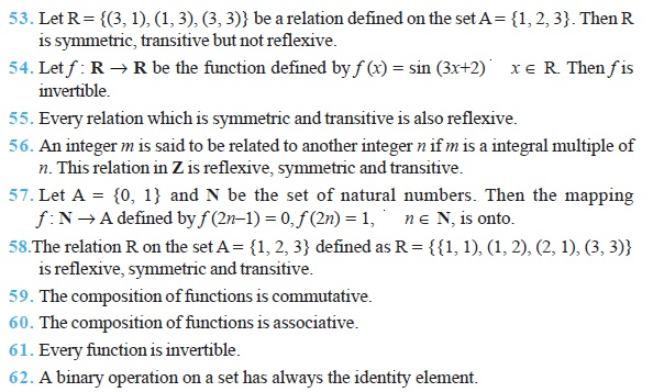 Class 12 Important Questions for Maths - Relations and Functions