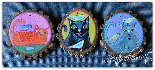cat art ornaments by Regina Lord