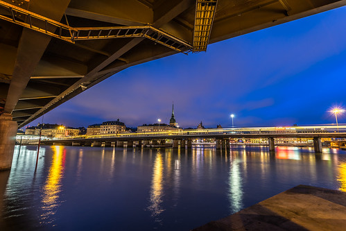 old city longexposure travel bridge light sea sky urban night clouds train buildings reflections river landscape photography town photo europe sweden stockholm sony trails bridges onsale stockholmslän konicaminolta1735 sonya7