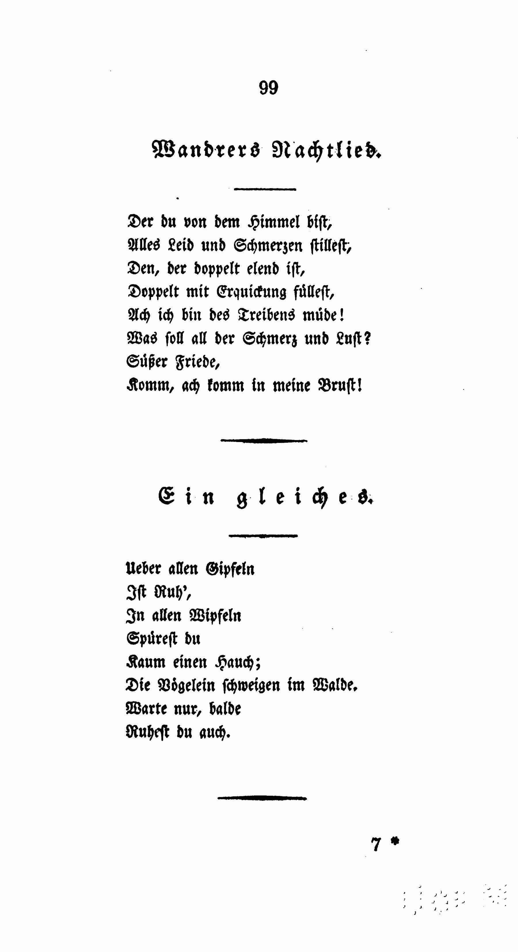 Goethe, Wandrers Nachtlied, Ausgabe letzter Hand, 1827