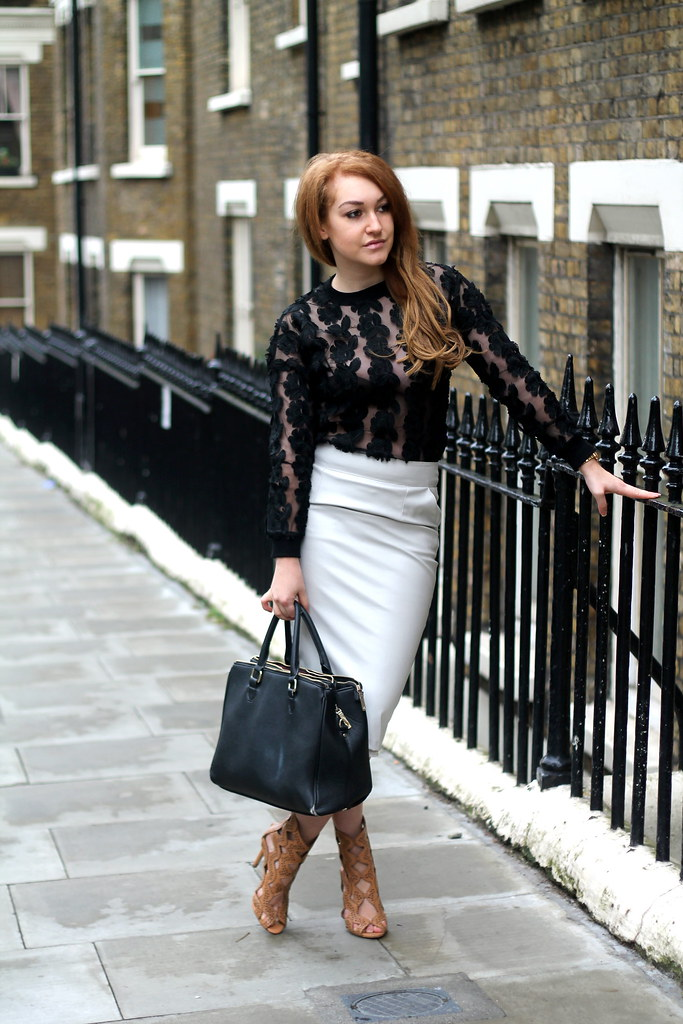 Black lace top and white pencil skirt (7)
