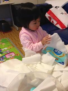 第一次抽出滿坑滿谷的衛生紙