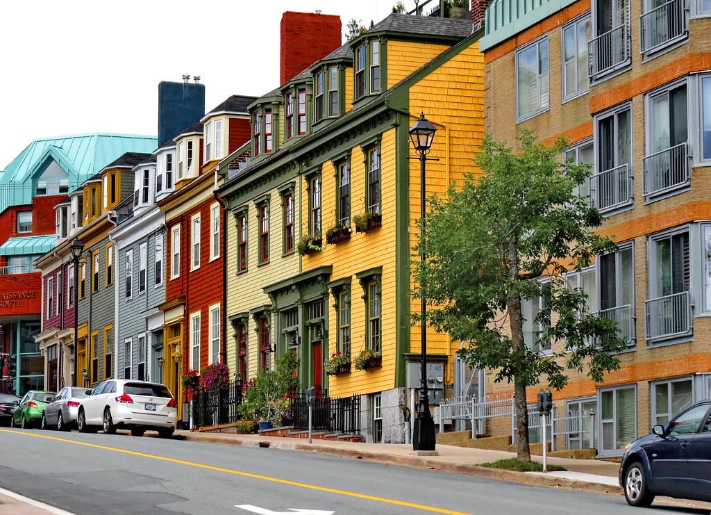 Colourful row of houses on Morris Street, Halifax, NS