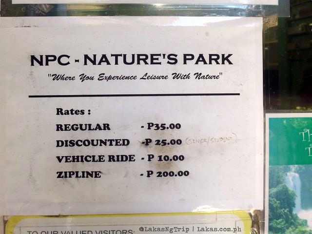 NPC Nature's Park Rates. Maria Cristina Falls in Iligan City, Philippines