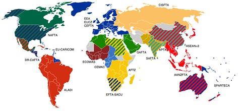 以WTO為基礎繪製的全球主要自由貿易區 圖片來源:維基百科