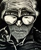 Charcoal Drawing: Face of an old man.