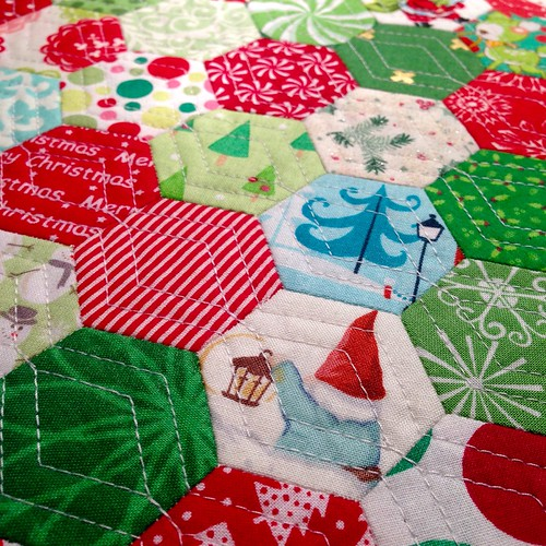 Hexie stocking quilting detail