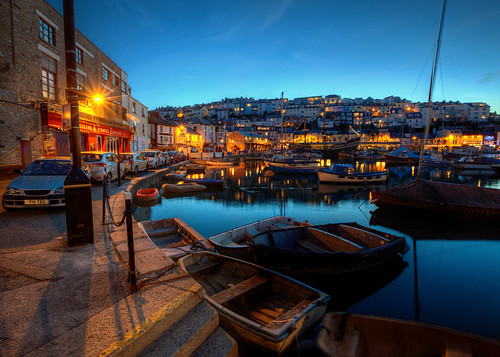 uk england boats harbor pier twilight harbour quay devon bluehour brixham southdevon englishriviera