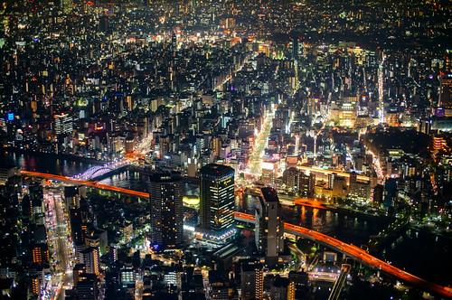 (Nighttime) Tokyo City Skyline from Tokyo Skytree in Tokyo Japan.