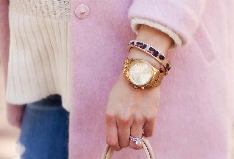 cute & little blog | petite fashion maternity | pink wool coat, pearl necklace, chunky white sweater, leopard bangle, kors boyfriend watch | accessories