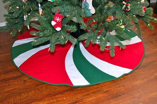 Deluxe Red, White & Green Peppermint Swirl Christmas Tree Skirt