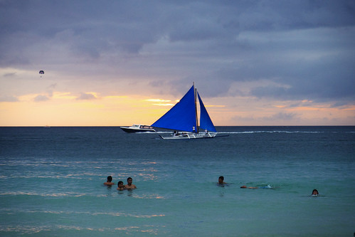 ocean camera sunset sea sky people sun colour reflection beach water clouds digital swimming boat sand aperture nikon exposure flickr surf waves sailing image yacht philippines sails iso boracay swimmers tamron malay aklan westernvisayas