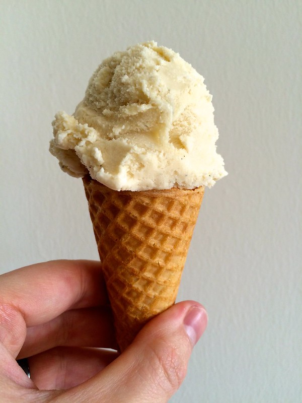 Homemade Vanilla Ice Cream Cone