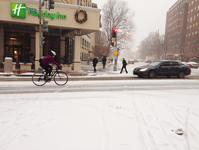 Snow cyclist on Rhode Island Av