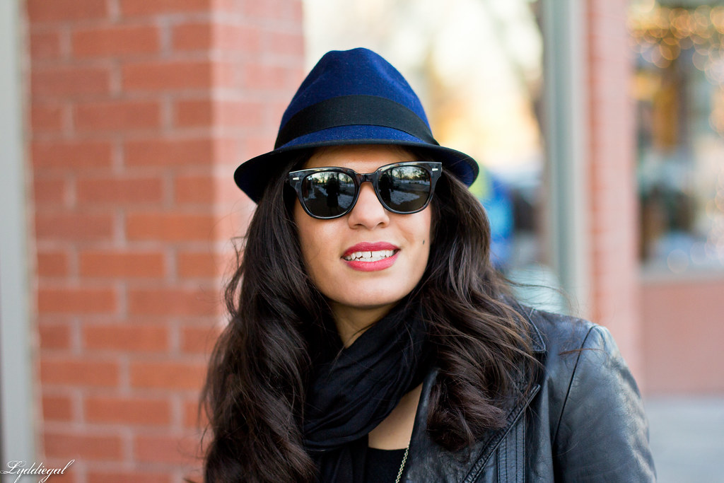 LBD, Leather jacket, Navy fedora-4.jpg