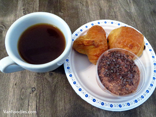 Croissant, Pain Au Chocolat, Cold Oats, French Pressed Coffee