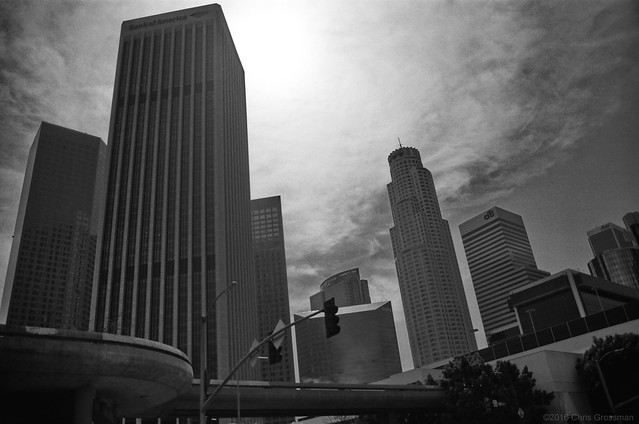 Downtown Los Angeles from Figueroa & 3rd - Nikon F4 - AF Nikkor 28-105mm - TMAX 100 (TMX)