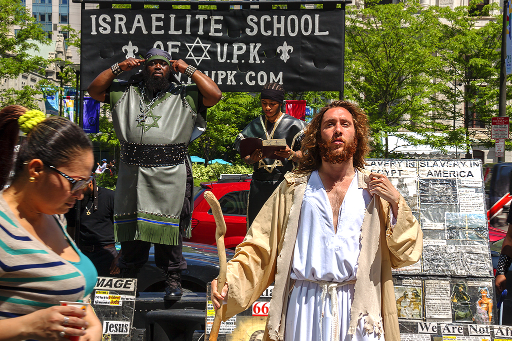 Philly Jesus on front of members of the Israelite School of Universal Practical Knowledge on 5-10-16--Center City