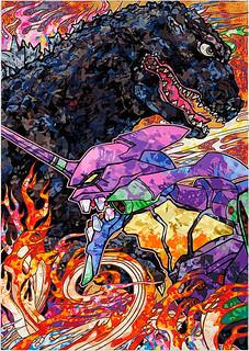 藝術大師村上隆作畫!《哥吉拉 VS 福音戰士》聯名第三彈 ゴジラ対エヴァンゲリオン