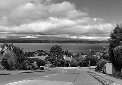 Seattle in Black & White:   View West to the Olympics From 55th & Orleans, West Seattle